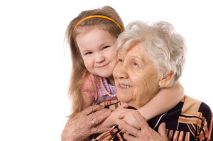 Older woman with grandchild